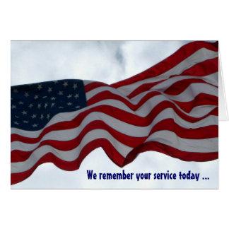 Nós recordamos seu cartão do dia de veteranos do