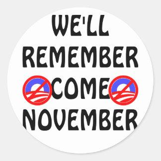 Nós recordaremos vindo novembro adesivo