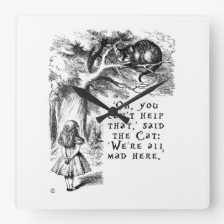 Nós somos tudo aqui - gato louco de Cheshire Relógio Para Parede