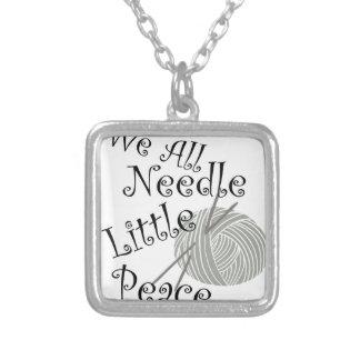 Nós toda a agulha pouca arte de confecção de colar banhado a prata