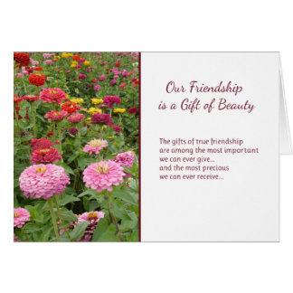 Nossa amizade é um presente da beleza cartão comemorativo