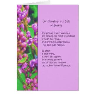 Nossa amizade é um presente da beleza… cartão comemorativo