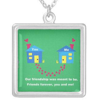 Nossa amizade foi significada estar colar com pendente quadrado