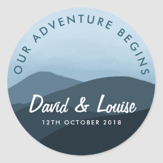 Nossa aventura começa a etiqueta azul do casamento