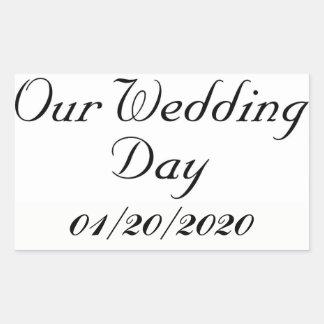 Nossa etiqueta da data de dia do casamento