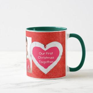 Nossa primeira do Natal caneca de café junto