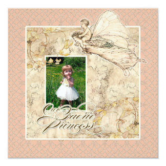 Nossa princesa do país das fadas, festa de convite quadrado 13.35 x 13.35cm