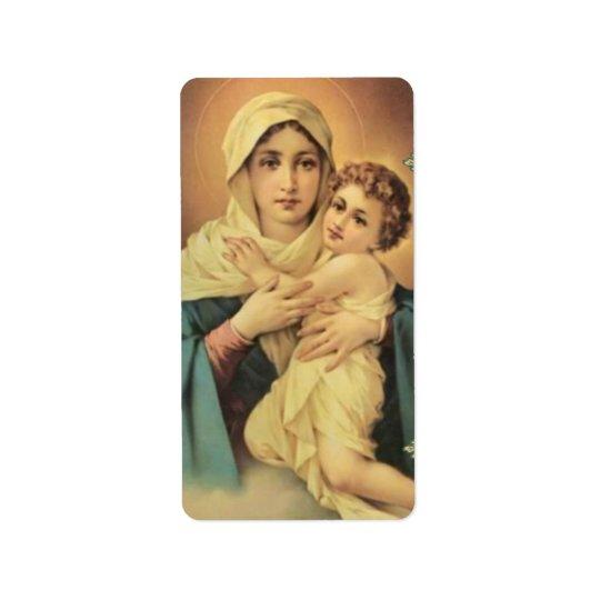 Nossa senhora da MÃE de Jesus da Virgem Maria de Etiqueta De Endereço