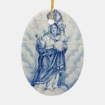 Nossa senhora da paz ornamento de cerâmica oval