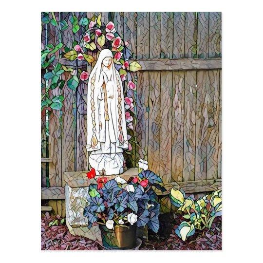 Nossa senhora de Fatima w floresce pela cerca Cartão Postal