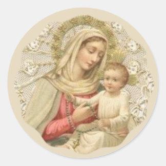 Nossa senhora do rosário com o bebê Jesus Adesivo Redondo