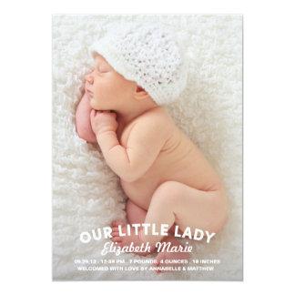 Nossa senhora pequena Nascimento Anúncio Convite 12.7 X 17.78cm