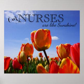 Nossas enfermeiras são como a luz do sol! posters