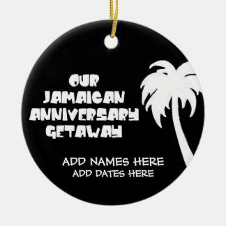 Nosso aniversário jamaicano ornamento de cerâmica redondo
