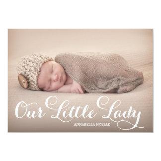 Nosso anúncio pequeno do nascimento da senhora | convite personalizado