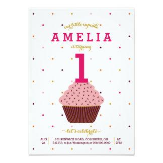 Nosso convite pequeno do aniversário do cupcake