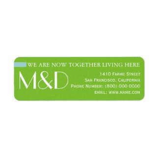 nosso endereço novo, verde monogrammed etiqueta endereço de retorno