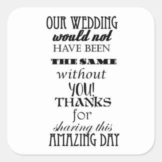 Nosso obrigado do casamento você etiquetas, adesivo quadrado