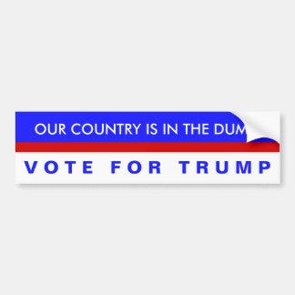 Nosso país está na descarga, voto para o trunfo! adesivo para carro