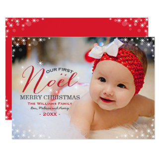 Nosso primeiro cartão de Natal da foto de Noel   Convite 12.7 X 17.78cm