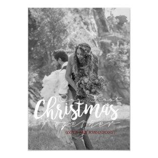 Nosso primeiro do Natal cartão com fotos moderno Convite 12.7 X 17.78cm