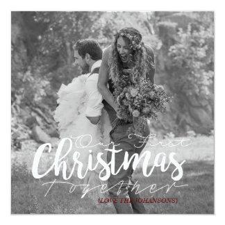 Nosso primeiro do Natal cartão com fotos moderno Convite Quadrado 13.35 X 13.35cm