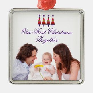 Nosso primeiro do Natal ornamento da foto de