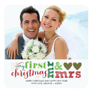 Nosso primeiro Natal como o Sr. & a Sra. Feriado Convite Quadrado 13.35 X 13.35cm