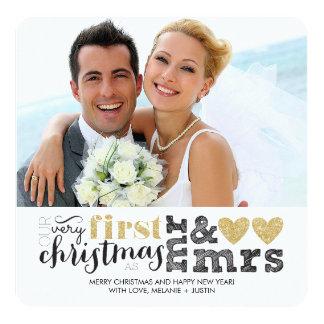 Nosso primeiro Natal como o Sr. & a Sra. Ouro Convite Quadrado 13.35 X 13.35cm