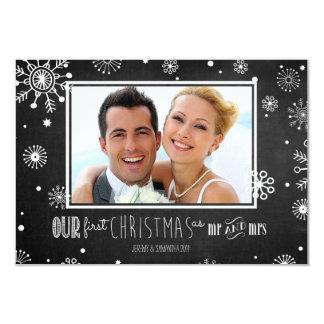 Nosso primeiro Natal como o Sr. e a Sra. Floco de Convite 8.89 X 12.7cm