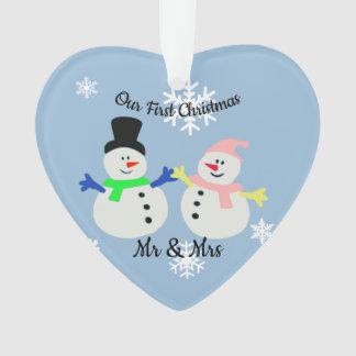 Nosso primeiro ornamento do coração do casal da