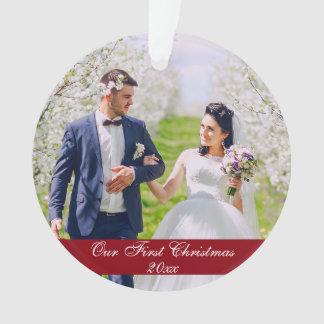 Nosso primeiro ornamento R redondo do casamento do