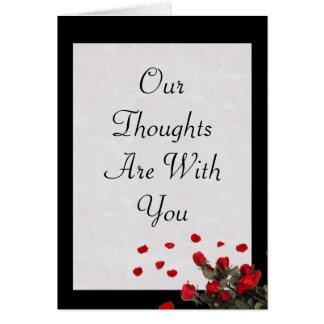 Nossos pensamentos são com você - cartão de