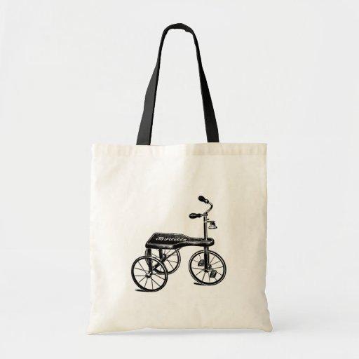 Nostalgia do triciclo do brinquedo do vintage bolsas de lona