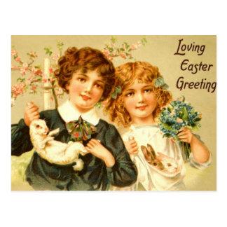 Nostálgico antigo do cartão dos coelhos das
