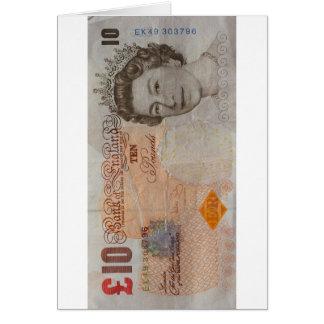 nota £10 cartão comemorativo