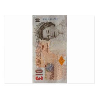 nota £10 cartão postal