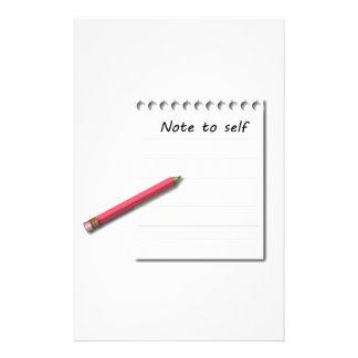 Nota ao papel e ao lápis do auto papelaria