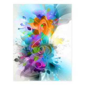 Nota colorida e legal bonita da música do splatter cartão postal