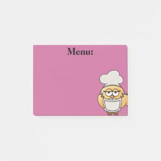 Nota de post-it bonito do rosa do menu do bloquinho de notas