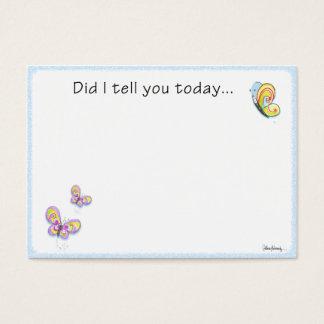 Nota do amor da lancheira da borboleta cartão de visitas