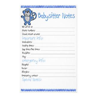 Nota do baby-sitter de bebê papelaria