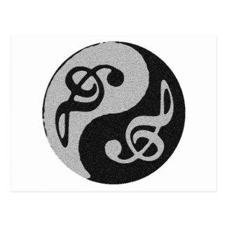 nota do clave da música de yang do yin cartão postal