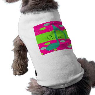 Nota do nome décimo sexto de Cusom em bolinhas Camisetas Para Cães
