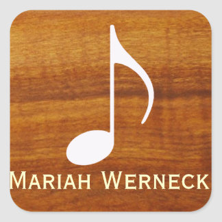 nota feita sob encomenda da música na madeira adesivo em forma quadrada