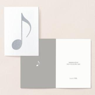 nota musical cartão metalizado