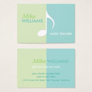nota musical em moderno azul & verde da luz - cartão de visitas