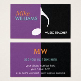 nota musical em moderno preto & roxo cartão de visitas