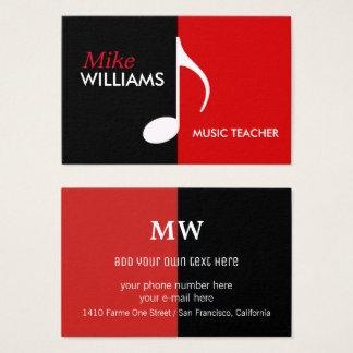 nota musical em moderno preto & vermelho cartão de visitas