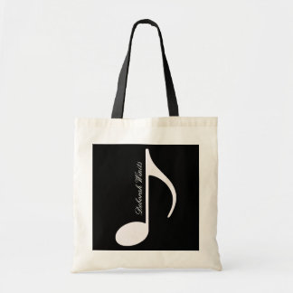 nota musical gráfica personalizada sacola tote budget